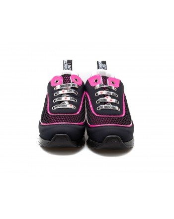 LOVE MOSCHINO - Tech Fabric Logo Laces Sneakers - Black/Pink