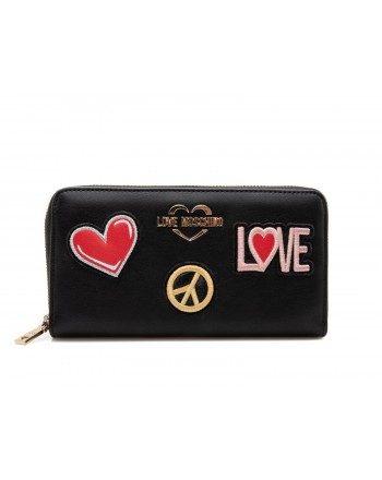 LOVE MOSCHINO - Zip Around Wallet with Peace and Love Patches - Black