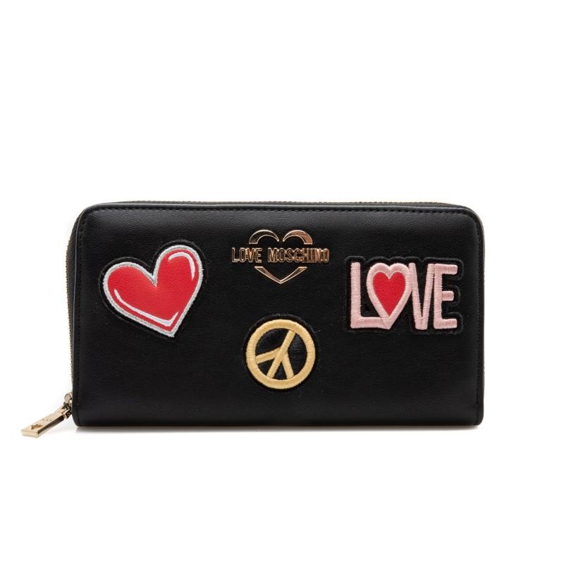 LOVE MOSCHINO - Portafogli Zip Around con Patches Cuore e Pace - Nero