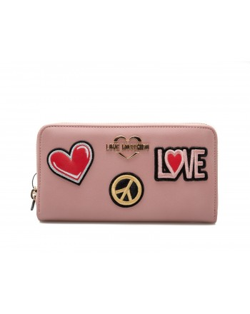 LOVE MOSCHINO - Portafogli Zip Around con Patches Cuore e Pace - Rosa