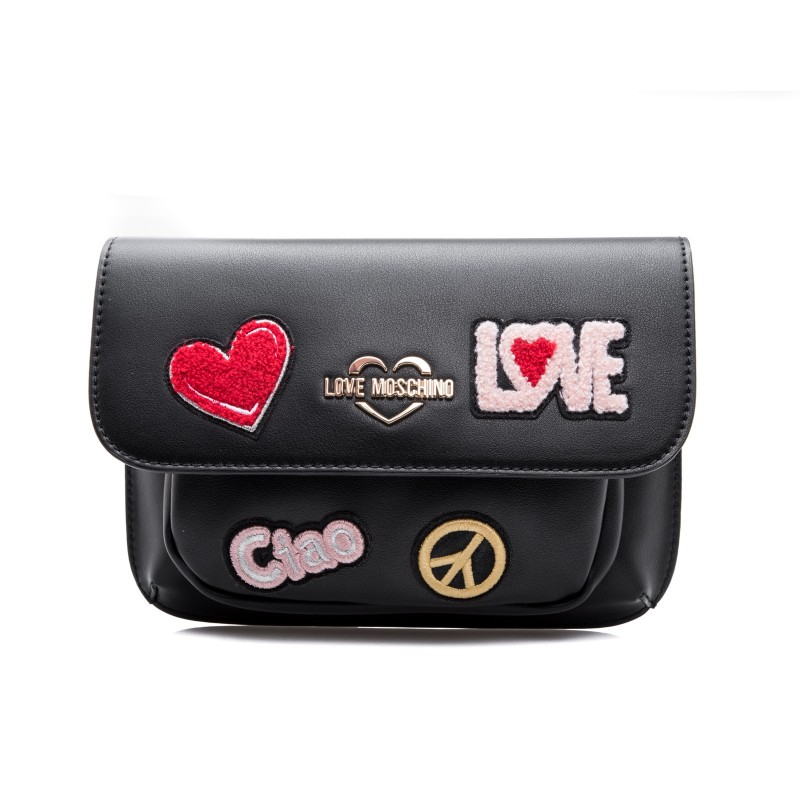 LOVE MOSCHINO - Ecoleather  Fanny Pack with Love and Peace Patches - Black