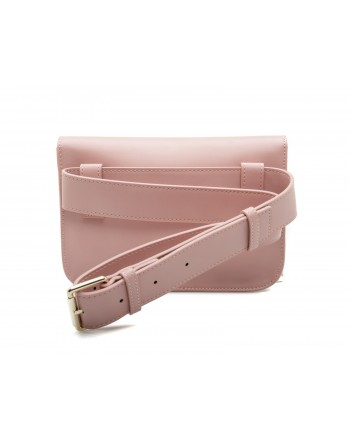 LOVE MOSCHINO - Ecoleather  Fanny Pack with Love and Peace Patches - Pink