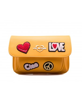 LOVE MOSCHINO - Ecoleather  Fanny Pack with Love and Peace Patches - Mustard Yellow
