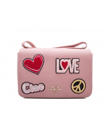 LOVE MOSCHINO - Ecoleather Bag with Patches - Pink