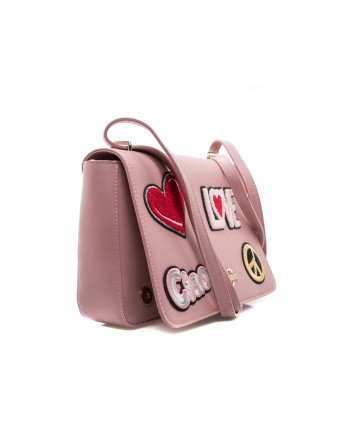 LOVE MOSCHINO - Borsa in Ecopelle con Patches - Rosa