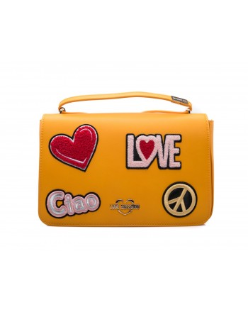 LOVE MOSCHINO - Borsa in Ecopelle con Patches - Senape