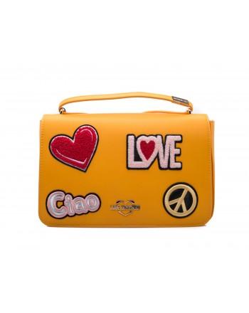 LOVE MOSCHINO - Borsa in Ecopelle con Patches - Senape