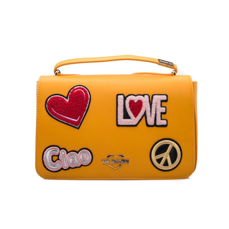LOVE MOSCHINO - Ecoleather Bag with Patches - Mustard Yellow