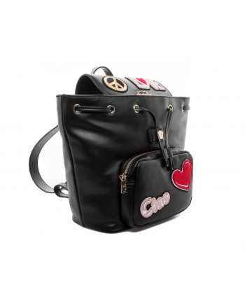 LOVE MOSCHINO - Zaino in Ecopelle con Patches - Nero