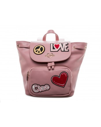 LOVE MOSCHINO - Zaino in Ecopelle con Patches - Rosa