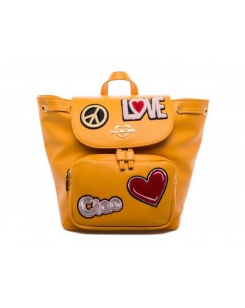 LOVE MOSCHINO - Zaino in Ecopelle con Patches - Senape