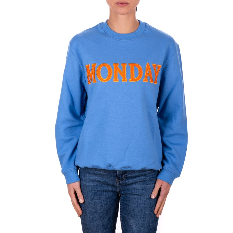 ALBERTA FERRETTI - MONDAY Cotton Sweatshirt - Light Blue