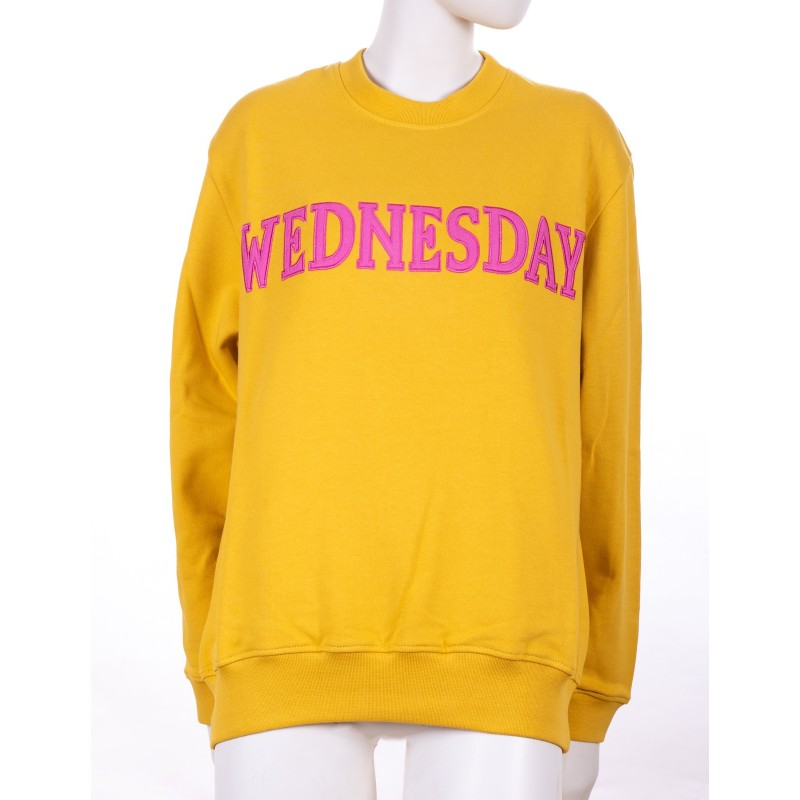ALBERTA FERRETTI - WEDNESDAY Cotton Sweatshirt - Mustard