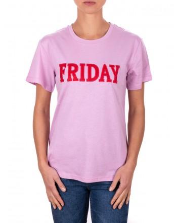 ALBERTA FERRETTI -  Cotton jersey T-shirt with FRIDAY logo - Lilac