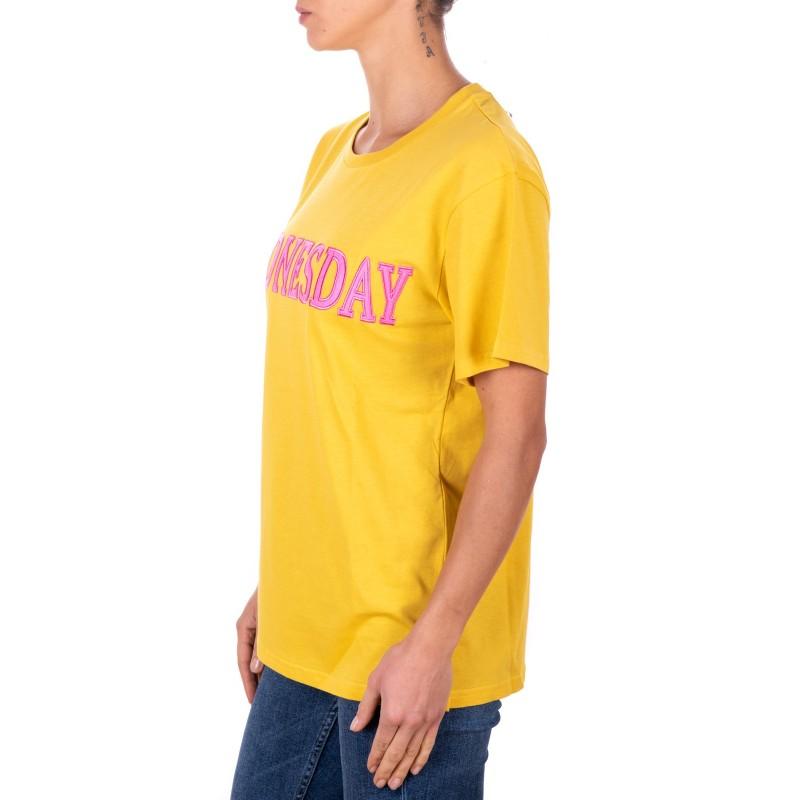 ALBERTA FERRETTI -  Cotton jersey T-shirt with WEDNESDAY logo - Mustard