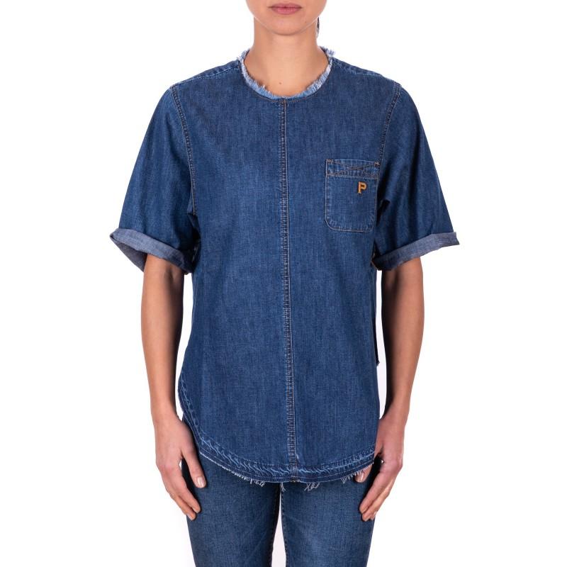 PHILOSOPHY di LORENZO SERAFINI - Blusa  in cotone con taschino e Orlo stondato  - Denim