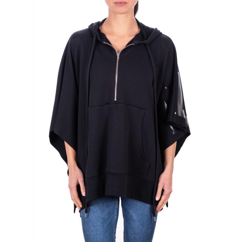 PHILOSOPHY di LORENZO SERAFINI -Cape Styled Cotton Sweatshirt - Black