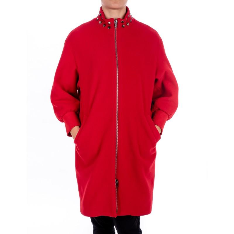 LOVE MOSCHINO - Cappotto con cerniera e borchie - Rosso