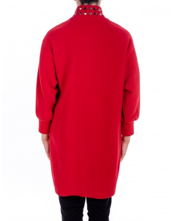 LOVE MOSCHINO - Coat with zipper and studs - Red