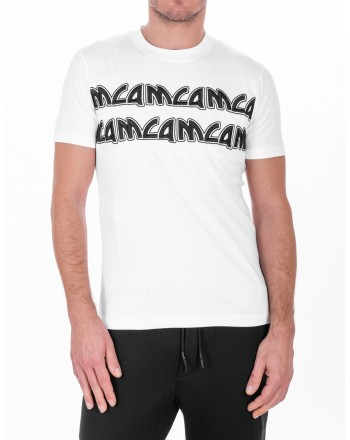 MCQ BY ALEXANDER MCQUEEN -  T-Shirt in cotone con Logo in stile Metal - Bianco