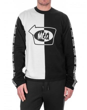 MCQ BY ALEXANDER MCQUEEN -  Maglia in Cotone con Logo e Bande laterali - Nero/Gesso