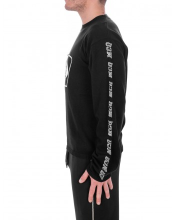 MCQ BY ALEXANDER MCQUEEN -  Cotton Sweatshirt with front Logo and Side Bands - Black/Chalk
