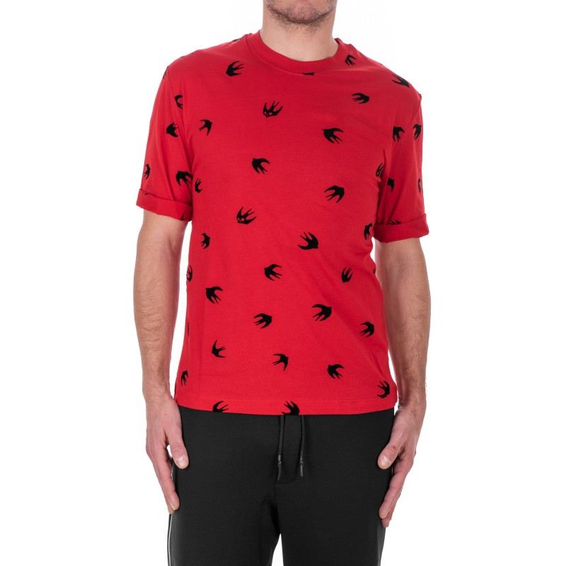 MCQ BY ALEXANDER MCQUEEN - Swallows Cotton T-Shirt - Cadillac Red