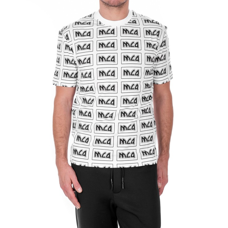 MCQ BY ALEXANDER MCQUEEN -  T-Shirt in cotone con Logo in stile Metal Repeat - Bianco