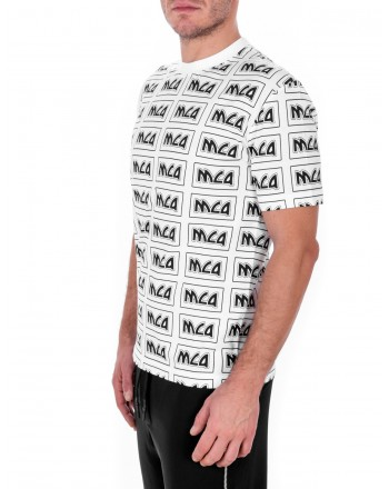 MCQ BY ALEXANDER MCQUEEN -  T-Shirt in cotone con Logo in stile Metal Repeat - Bianco