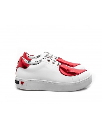 LOVE MOSCHINO - Leather Sneakers with Red Heart Patch  - White/Red