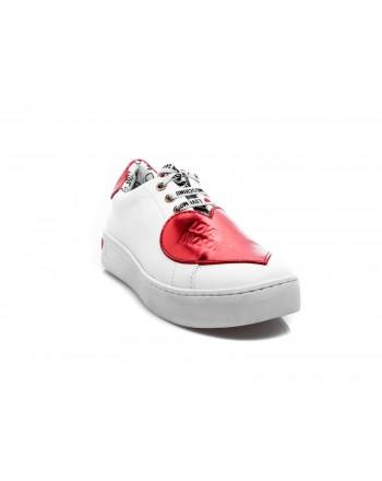 LOVE MOSCHINO - Sneakers in Pelle con Cuore - Bianco/Rosso