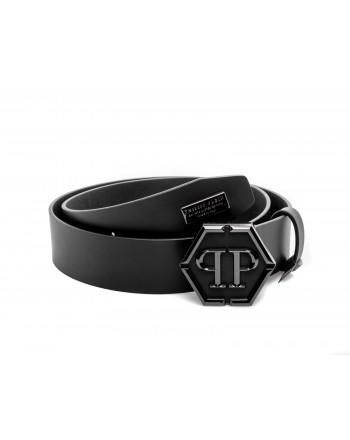 PHILIPP PLEIN - Cintura in Pelle con Logo - Nero