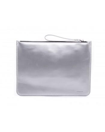 PINKO - INVENTI leather envelope bag - Argento/Fucsia