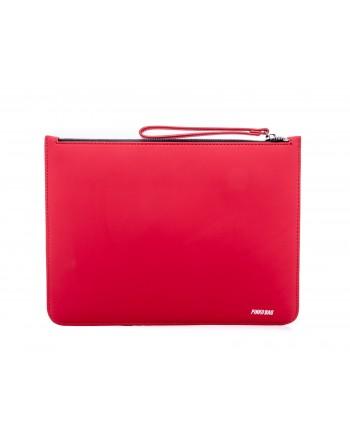PINKO - INVENTI leather envelope bag - Red/Blue
