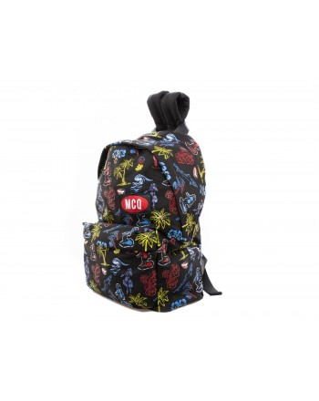 MCQ BY ALEXANDER MCQUEEN -  Classic Backpack with Multicolour Pattern  - Black