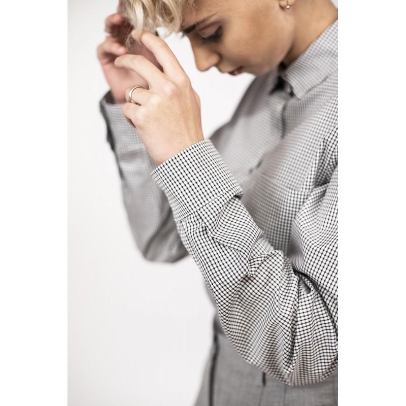 WEEKEND MAX MARA - Cotton Microsquared Shirt BETTA  - White/Black