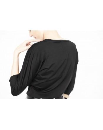 MAX MARA - T-Shirt manica 3/4 in viscosa - Nero
