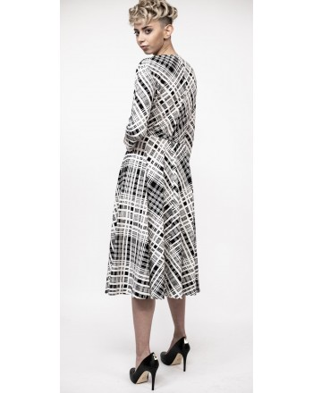 WEEK END MAX MARA - RADICE  dress print check - White/Black