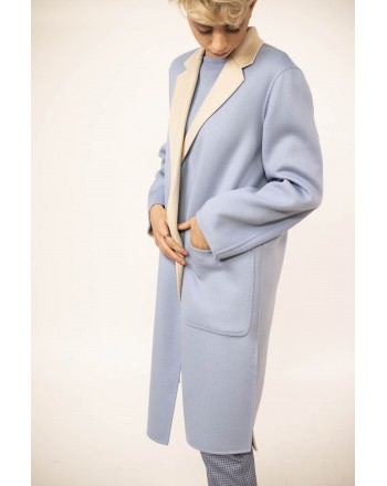 WEEKEND MAX MARA - DIDY  Reversible Wool Wrap Dress Coat  - Light Blue/White