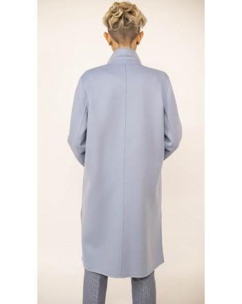 WEEKEND MAX MARA - DIDY  Reversible Wool Wrap Dress Coat  - Light Blue/White