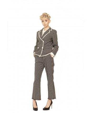 WEEKEND MAX MARA - Glen Plaid Trousers with Fringes - White/Black