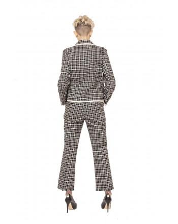 WEEKEND MAX MARA - Pantalone stampa Principe di Galles con Orlo sfrangiato - Bianco/Nero