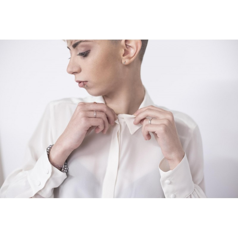 WEEKEND MAX MARA - DALMINE Silk Shirt with covered Buttons - White