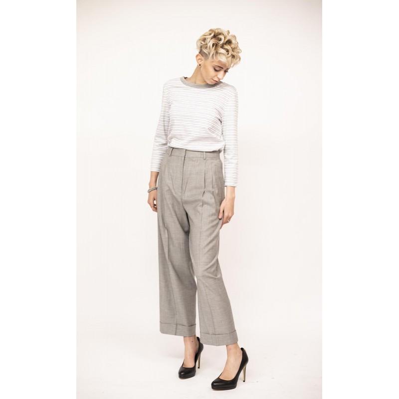 MAX MARA STUDIO - Jersey T-Shirt - White/Grey