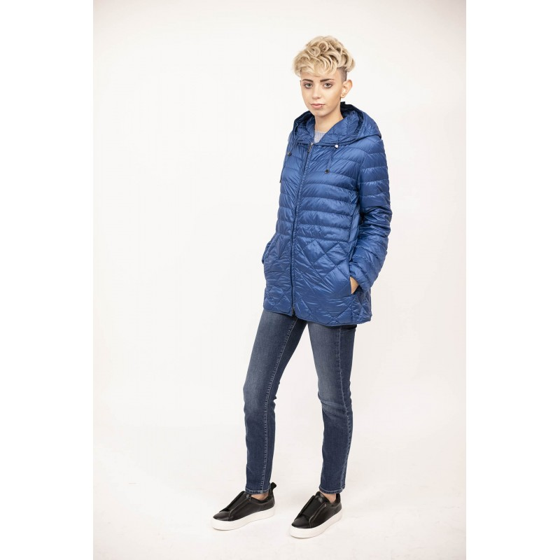 MAX MARA  THE CUBE - Lightweight Down Jacket  ETRES with Hood and Pockets  - Blue