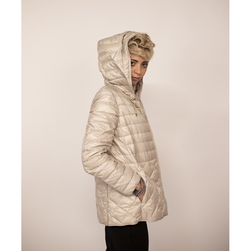 MAX MARA  THE CUBE - ETRES Lightweight Down Jacket with Hood - Sand