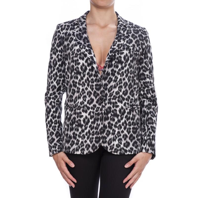 PINKO - Cady Animalier Printed Jacket CAMILLO - White/Black