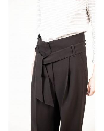 WEEKEND MAX MARA - Pantalone a Vita alta con cintura  VOTO - Nero