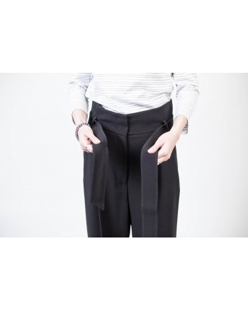 WEEKEND MAX MARA  High Waisted Trousers with Belt VOTO - Black