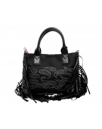 PINKO - Shopping Bag with fringes KENIA - Black